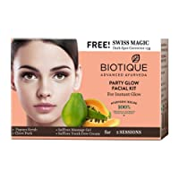 Biotique Party Glow Facial Kit for Instant Glow, 75g with Free Swiss Magic Dark Spot Corrector, 15g