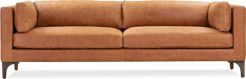 POLY & BARK Argan Sofa in Full-Grain Pure-Aniline Italian Tanned Leather in Cognac Tan