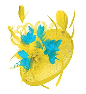 9cdd6b7f Caprilite Yellow Mix Colour Sinamay Disc Saucer Fascinator Hat for Women  Weddings Headband