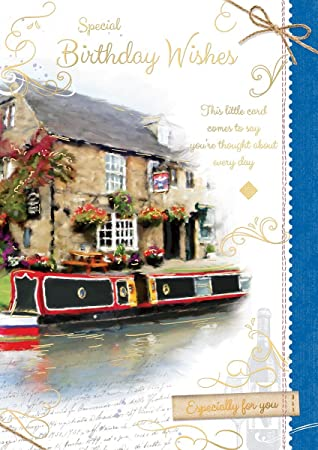 Open Male Birthday Card Country Pub Canal Barge Gold Swirls
