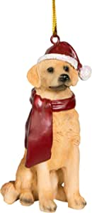 Design Toscano Golden Retriever Holiday Dog Ornament Sculpture, Full Color