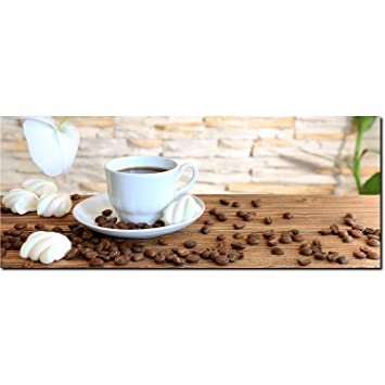 Dekoglas Glasbild Tasse Kaffee Kaffeebohnen Echtglas Bild Kuche