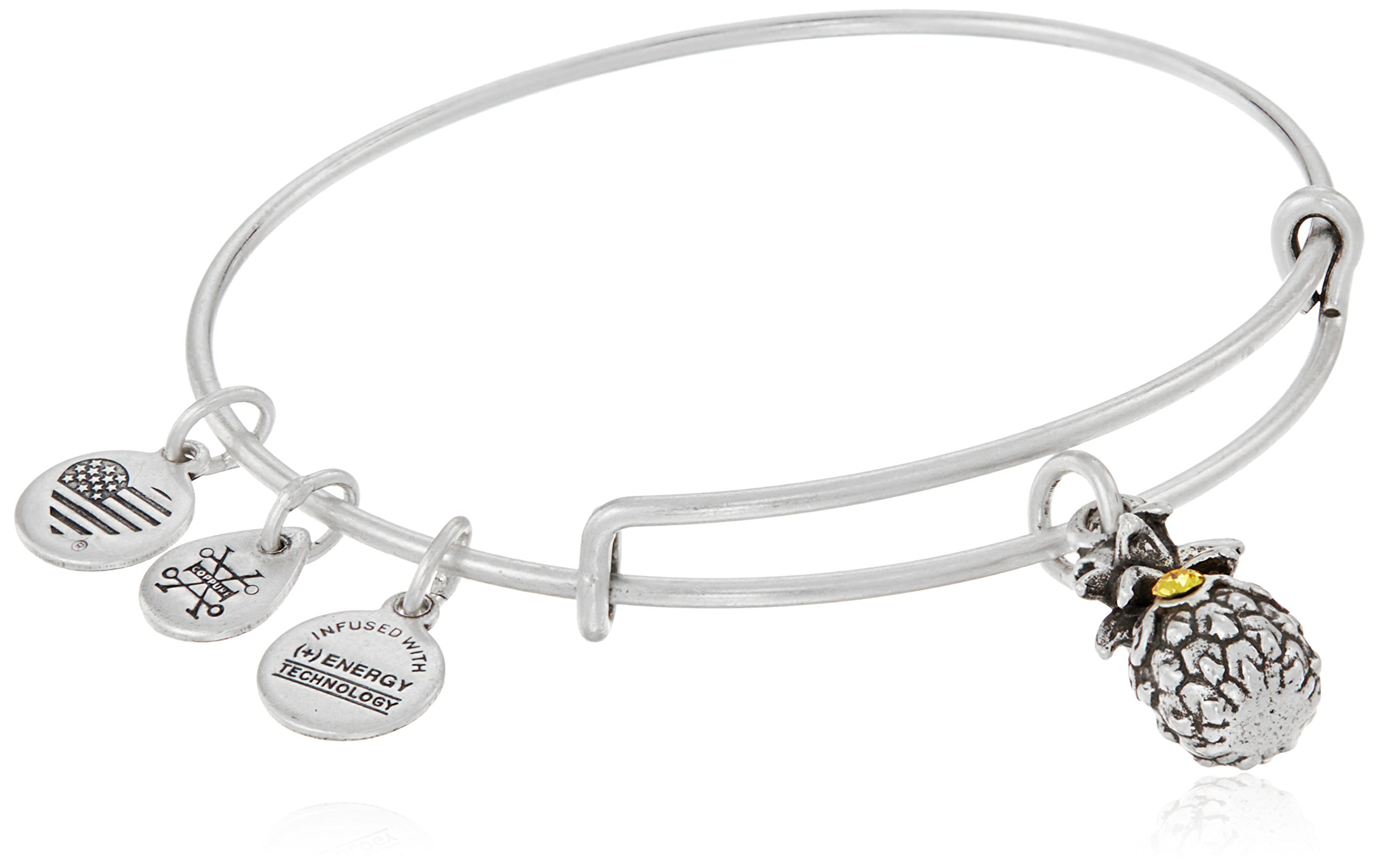 Alex and Ani Pineapple III Bangle Bracelet, Rafaelian Silver, Expandable