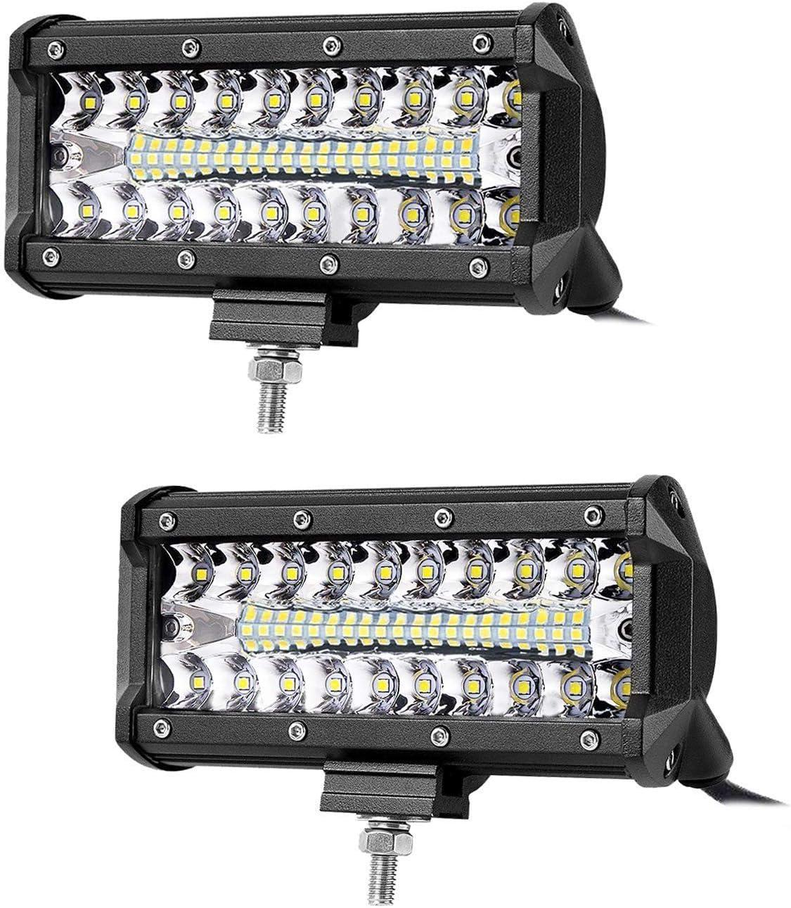 LED Barre,JieHe 72W Phares Longue Port/ée Led Projecteur pour Led Work Light LED Phare Lampe Pour Chantier V/éhicules SUV ATV et Camion Tout-terrain