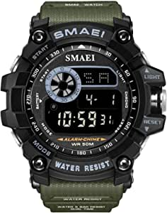 Men Large Dial Digital Watch Outdoor Militray Sport Watch with LED Backlight Stopwatch Waterproof Watch