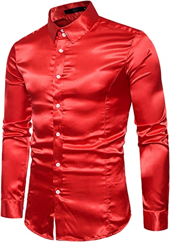 Boom Fashion Hombre Camisas de Manga Larga Casual Slim Brillante Tops Rojo medium: Amazon.es: Ropa y accesorios