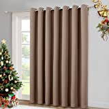 "Blackout Blinds for Patio Door - Sliding Door Insulated Blackout Curtains, Extra Wide Curtain for Villa / Hall / Parlor by NICETOWN (100""W x 84""L,Cappuccino)"