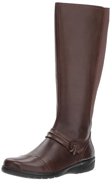 CLARKS Women's Cheyn Whisk Riding Boot, Dark Brown, ...