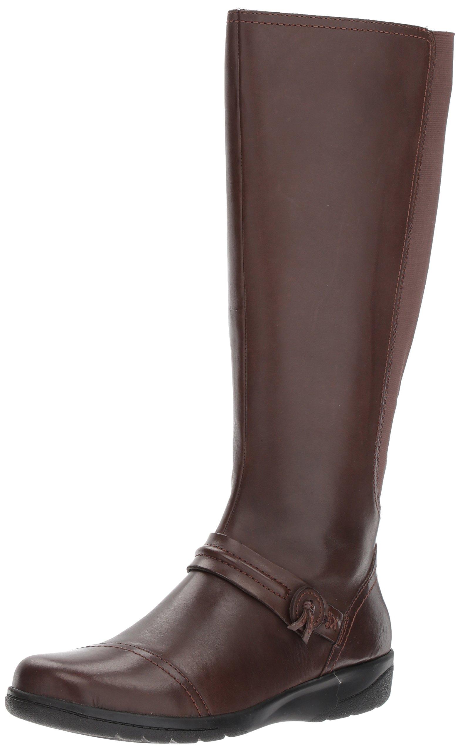 Clarks Women's Cheyn Whisk Riding Boot, Dark Brown, 8 M US