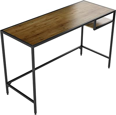 Industrial Vintage Design Space Saver Entryway Hallway Console Table Desk with Lower Shelf Storage, Wood Top and Metal Black Metal Frame
