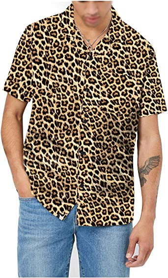 KINGOL Mens Fashion Fashion Pattern Short Sleeve Casual O-Neck Tech Short T-Shirt Tops Blouse