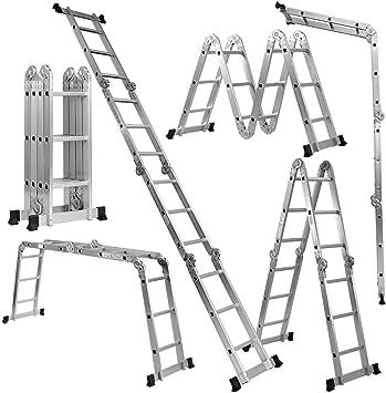 Giantex 7 en 1 plataforma plegable de aluminio multiuso andamio escalera plataforma extensible andamio multiuso escalera aluminio 330 lb: Amazon.es: Bricolaje y herramientas