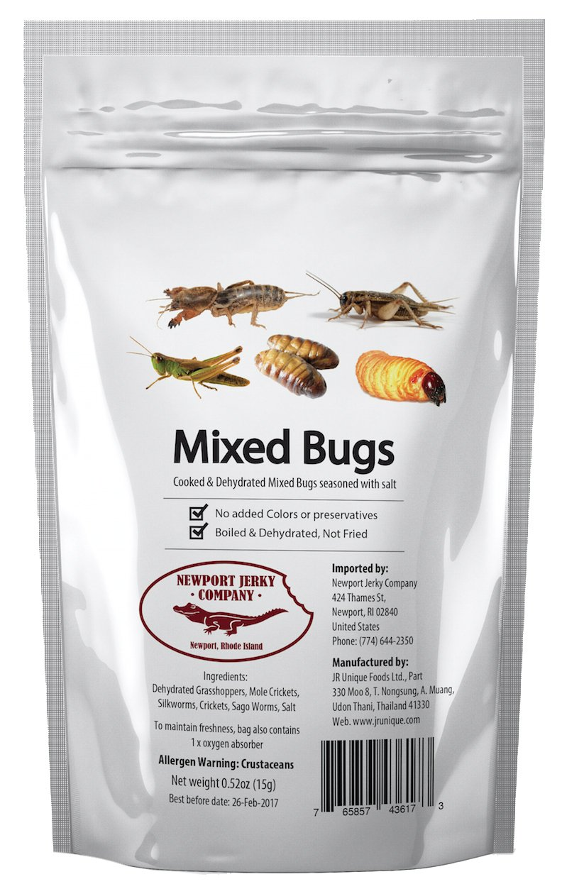Edible Insects Bag of Mixed Edible Bugs. Grasshoppers, Crickets, Silk Worms and Sago Worms (1 Pack)