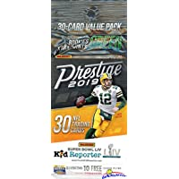 2019 Panini Prestige NFL Football EXCLUSIVE Factory Sealed JUMBO FAT PACK with 30 Cards including 4 Rookies & 6 Inserts/Parallel! Look for RCs & Autos of Kyler Murray, Josh Jacobs & More! WOWZZER!