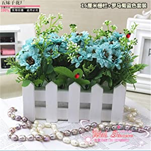 GAW Decor 16 cm Wood Fence + Blue Chrysanthemum Artificial Fake Silk Plastic Flowers for Coffee Dining Table Living Room Home Decorations Furnishings Christmas Halloween Wedding Birthday Party Gift