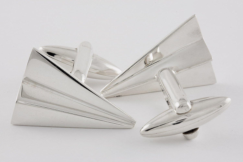 ZAUNICK Papierflieger Manschettenkn/öpfe Silber 925 handgefertigt