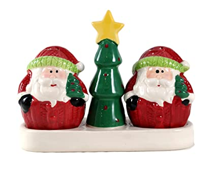 92369ce26d9 Amazon.com  Holiday Santa with Christmas Tree Salt   Pepper Shaker ...