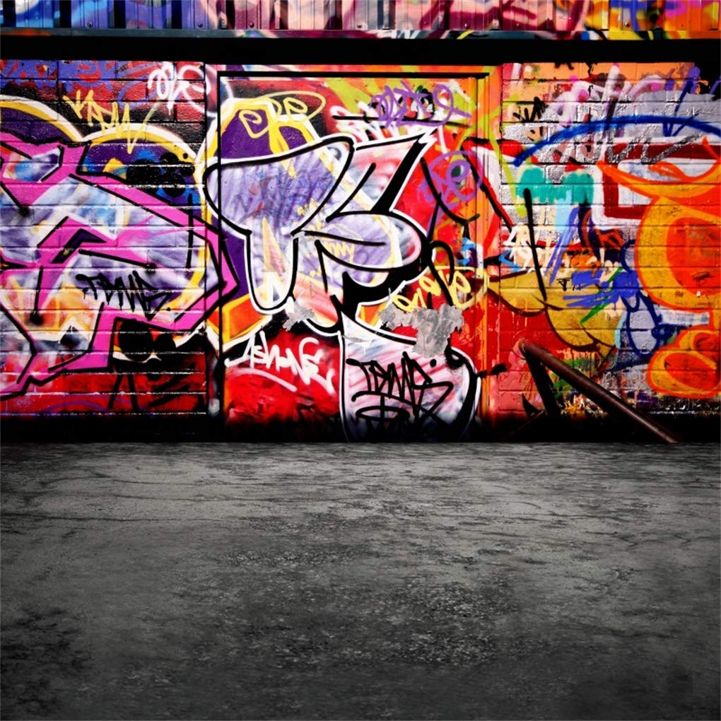 Yeele 8x8ft street graffiti wall backdrop grunge colorful art scrawl background for photography 80s 90s rock hip hop fashion abstract brick wall kid adult