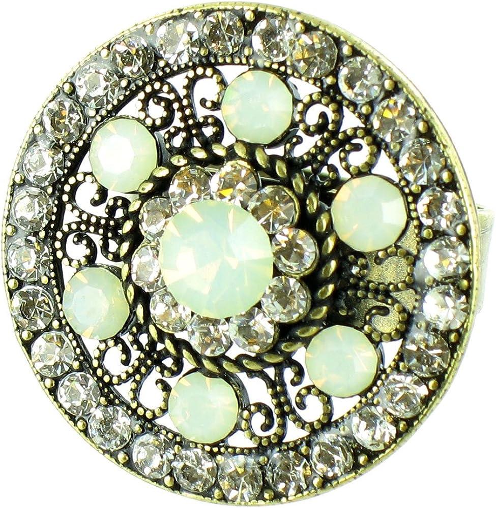 Cristales transparente dorado antiguo anillo de ópalo redondo