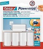 Großpackung tesa Powerstrips® Kabel-Clip, selbstklebend, spurlos wieder ablösbar, weiß (1 Großpackung | 25 Clips, Kabelclips)
