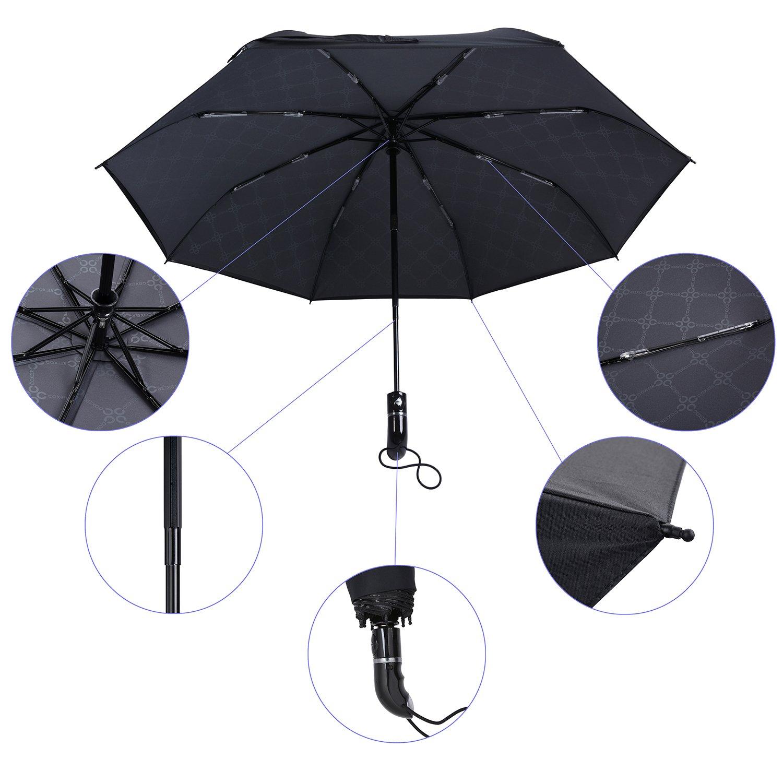 Amazon.com: Coxeer Travel Umbrella, Double Layer 8 Ribs Lightweight Windproof UV Sun Rain Umbrella Auto Open Close Compact Umbrella With Free Gift Cover and ...
