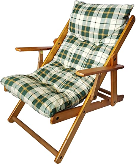 Totò Piccinni Poltrona Sedia Sdraio Harmony Relax in Legno Pieghevole 3 Posizioni (Verde Scacchi)