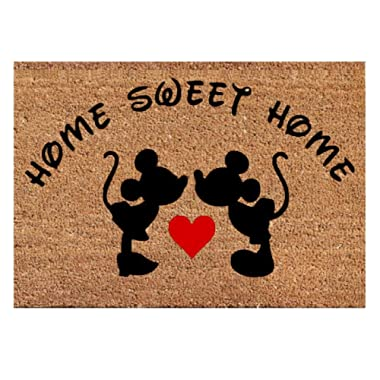 Mickey Mouse Kissing Heart Funny Doormat Decor Home Sweet Home Best Door Welcome Mat New House - Wedding Valentine Birthday Christmas