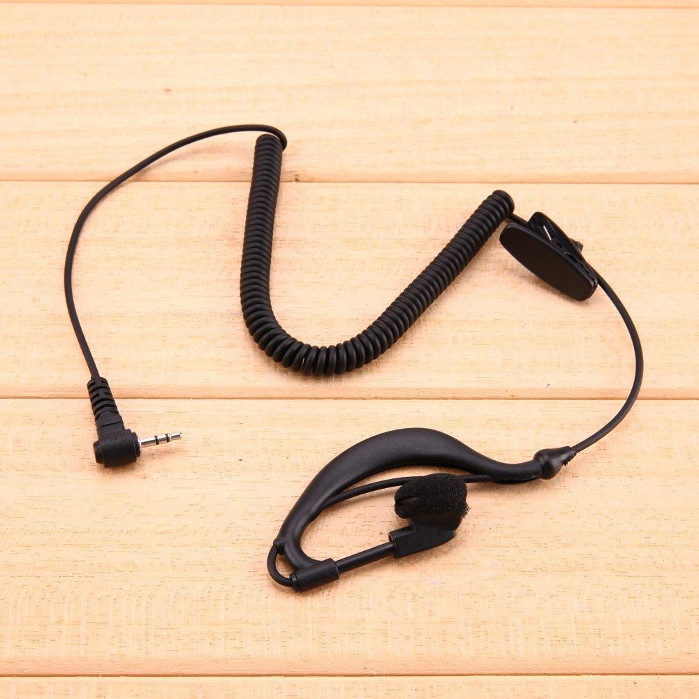 TOOGOO Interfono G-Gancho Negro 2.5mm Auricular Walkie Talkie Auriculares de oido Unico 1 Pin Solamente para Escuchar para Motorola//ICOM