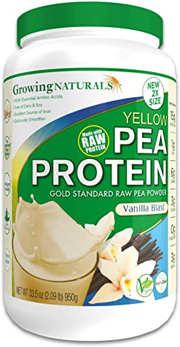 Growing Naturals Plant Based Protein, Gold Standard Raw Pea Protein Powder Vanilla Blast Non-GMO, Vegan, Gluten-Free, Keto Friendly, Shelf-Stable 2LB