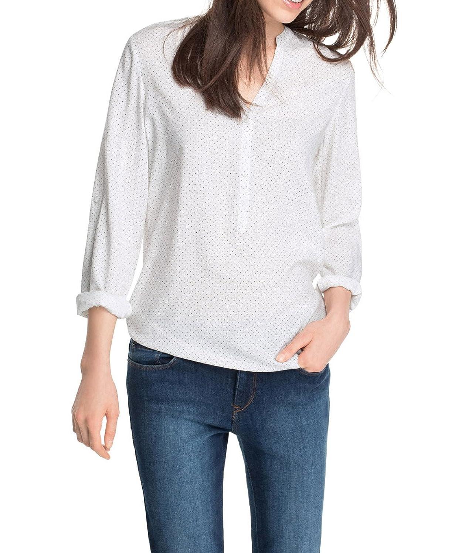 ESPRIT Women's Mini Dot Print Polka Dot Button Front Long Sleeve Blouse