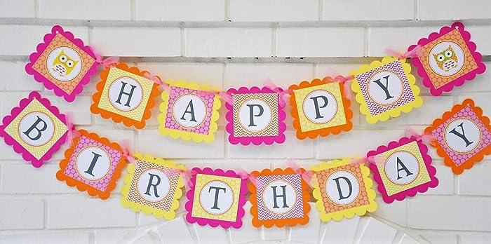 Pink Orange And Yellow Happy Birthday Owl Banner