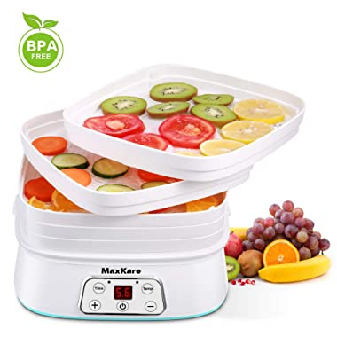 Maxkare Food Dehydrator Machine, Digital Multi-Tier Food Preservation Device with Temperature and Time Setting, Dried Fruits/Vegetables/Meat Maker, 5 Removable and Stackable Drying Trays, 210-260 watts, BPA Free