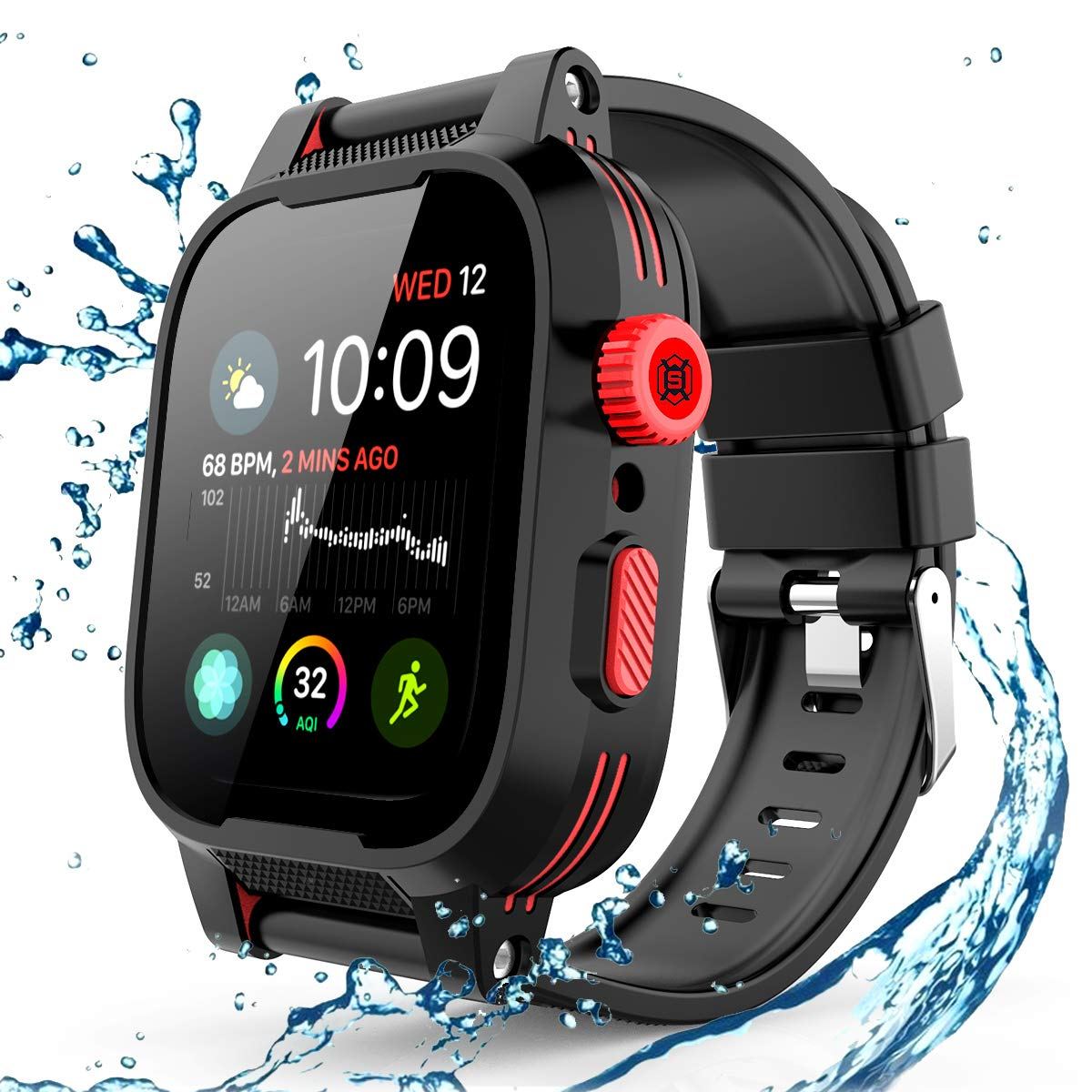 Willbox Waterproof Case for 44mm Apple Watch Series 4, IP68 Certified Shockproof Impact Resistant Durable Rugged Protective iWatch Case with Premium Soft Strap Bands for Apple Watch Series 4, 44mm by Willbox
