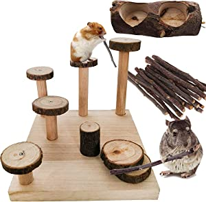 WHALE LEAPING Hamster Wood Playground Toy,Apple Wood Chewing Toys Chinchilla Steps Stairs Climbing Toys with Feeder for Small Animals Sugar Glider Chinchilla Guinea-Pigs Food Bowl