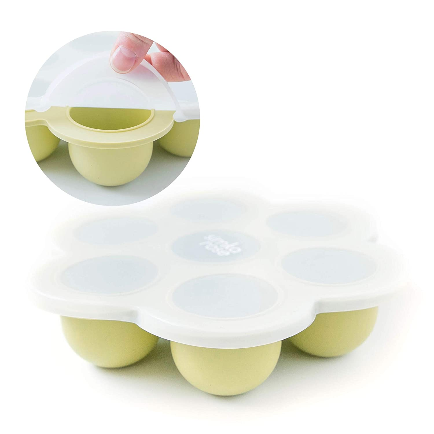 Simka Rose Baby Food Freezer Tray and Storage with Clip On Lid, BPA Free Silicone, 2.5 OZ Portions (Olive, 7 Portion)