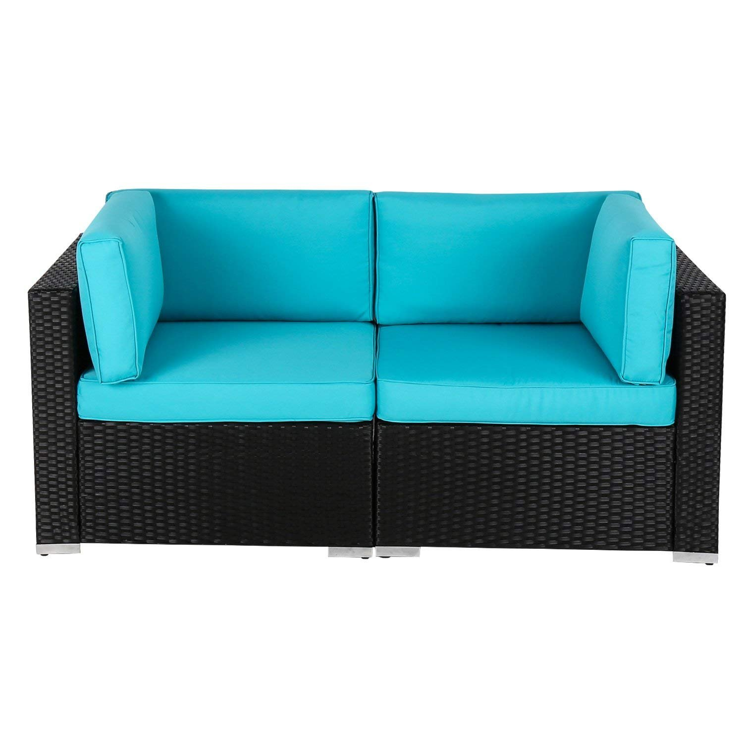 Kinbor 2 PC Wicker Rattan Loveseat Patio Outdoor Wicker Sectional Furniture with Blue Cushion
