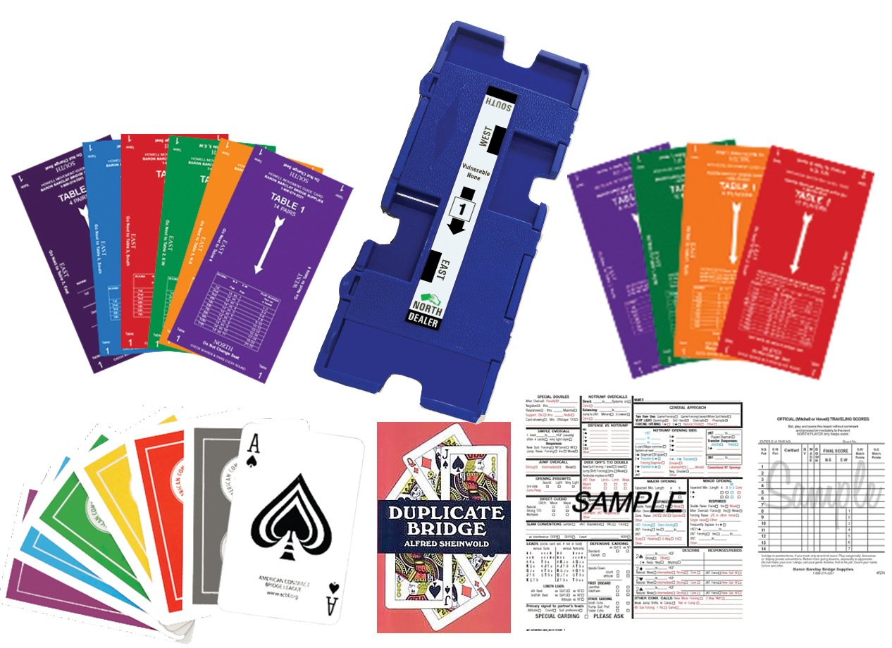 Duplicate Bridge Kit for up to 16 Players - 32 duplicate boards, 36 decks of ACBL playing cards, traveling score sheets, movement cards, convention cards, and instructional textbook