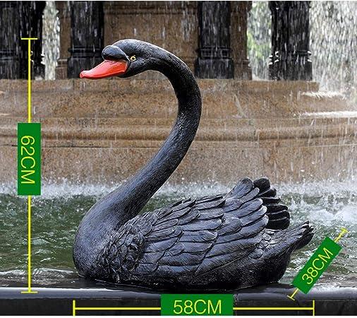 zenggp Estanque Adorno De Jardín Simulación Cisne Negro Cisne Negro Jardín Exterior Decoración De Fuente Escultura Animal,L: Amazon.es: Hogar