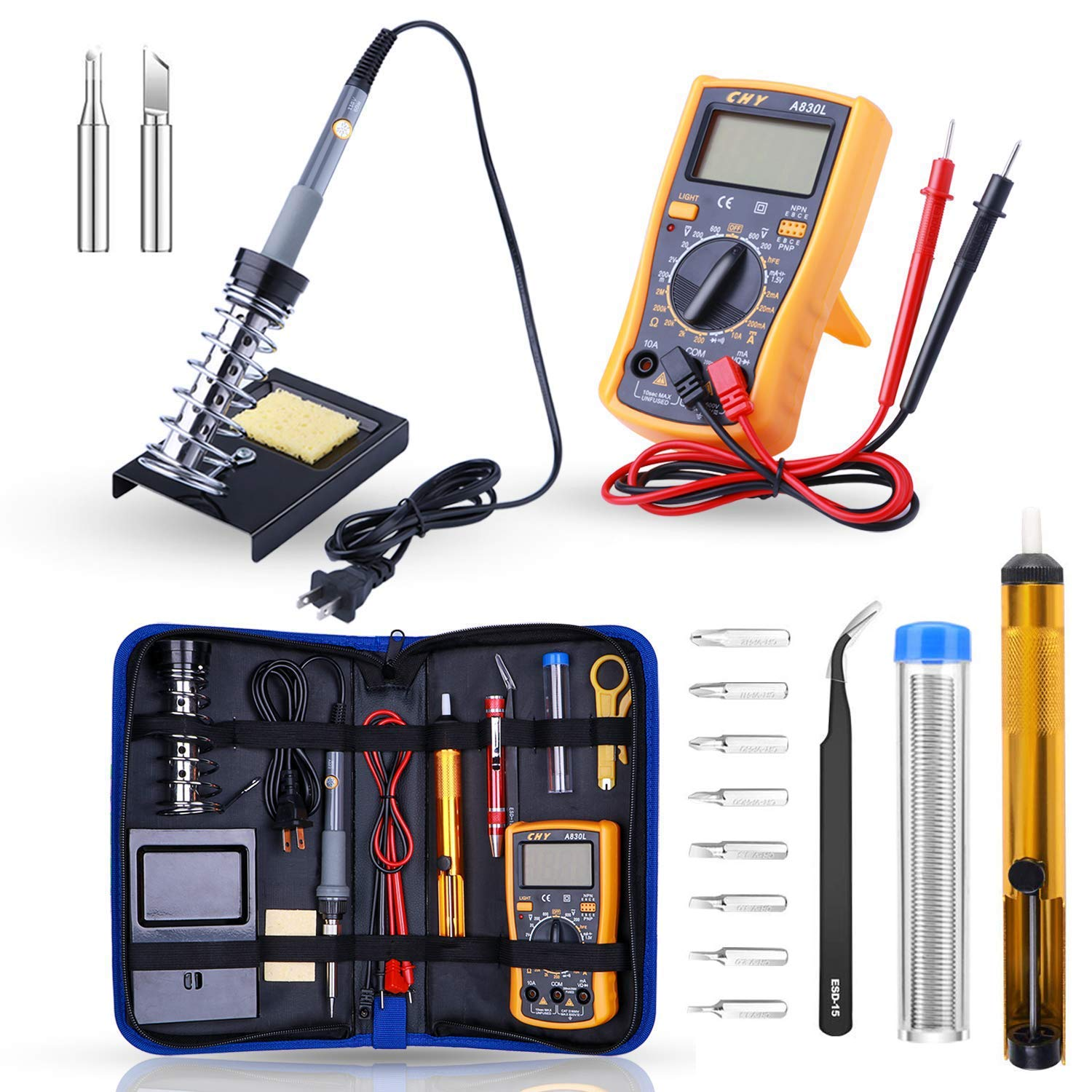 Rarlight Soldering Iron Kit Electronics, 60W Adjustable Temperature Welding Tool, Digital Multimeter, Desoldering Pump, Soldering Iron Stand, Wire Stripper Cutter, Tweezers, 2pcs Electronic Wire