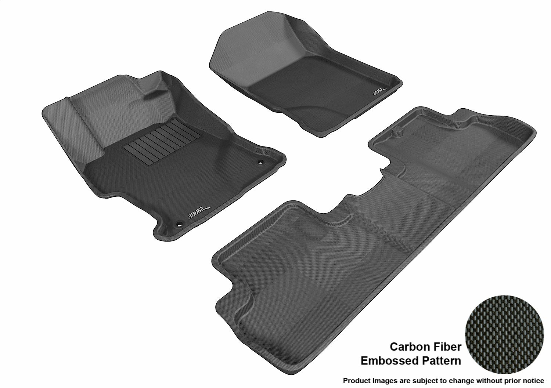 Black L1HD04501509 3D MAXpider Complete Set Custom Fit All-Weather Floor Mat for Select Honda Civic Models Kagu Rubber