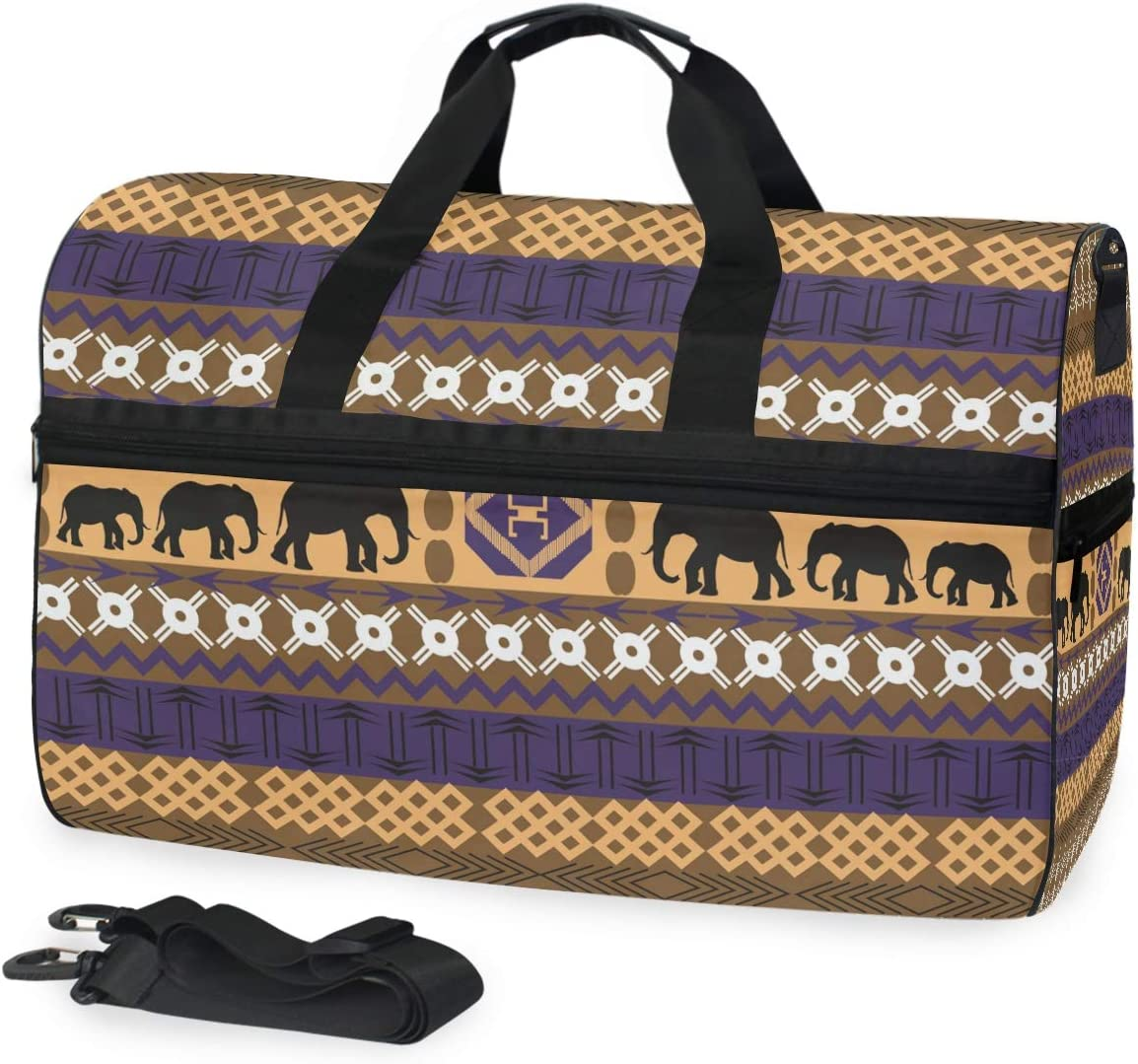 AHOMY Africa Art Elephant Sports Gym Bag with Shoes Compartment Travel Duffel Bag