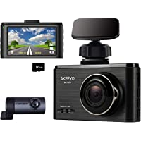Akeeyo 1080p Front and Rear Car Dash Cam with Micro SD Card (Metal Black)