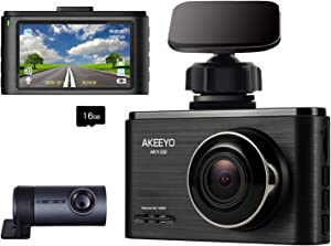 AKEEYO Car Dash Cam FHD 1080P Front and Rear Dash Camera 3 Inch IPS Screen 140° Wide Angle with WDR, G-Sensor, Loop Recording, Supercapacitor