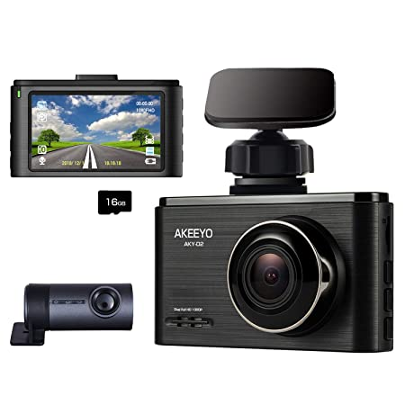 Dash Cam for Cars FHD Dual Lens 1080P Front and Rear, 3 Inch IPS Screen 140 Wide Angle DVR WDR Driving Recorder, G-Sensor, Loop Recording, AKEEYO AKY-D2