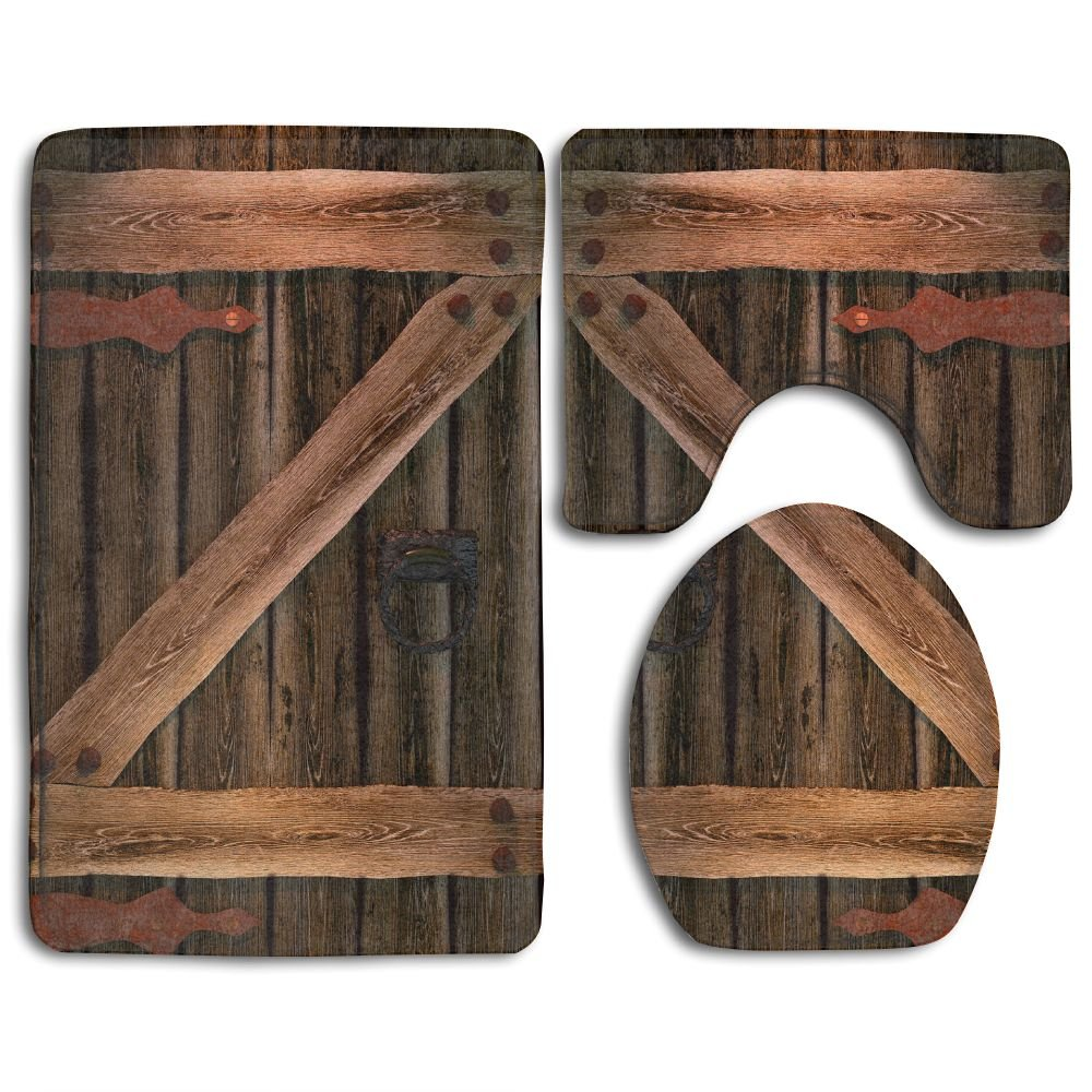 Rustic Country Barn Wood Door Set Non-Slip Bathroom Mat Set Lid Toilet Cover Pedestal Rug.