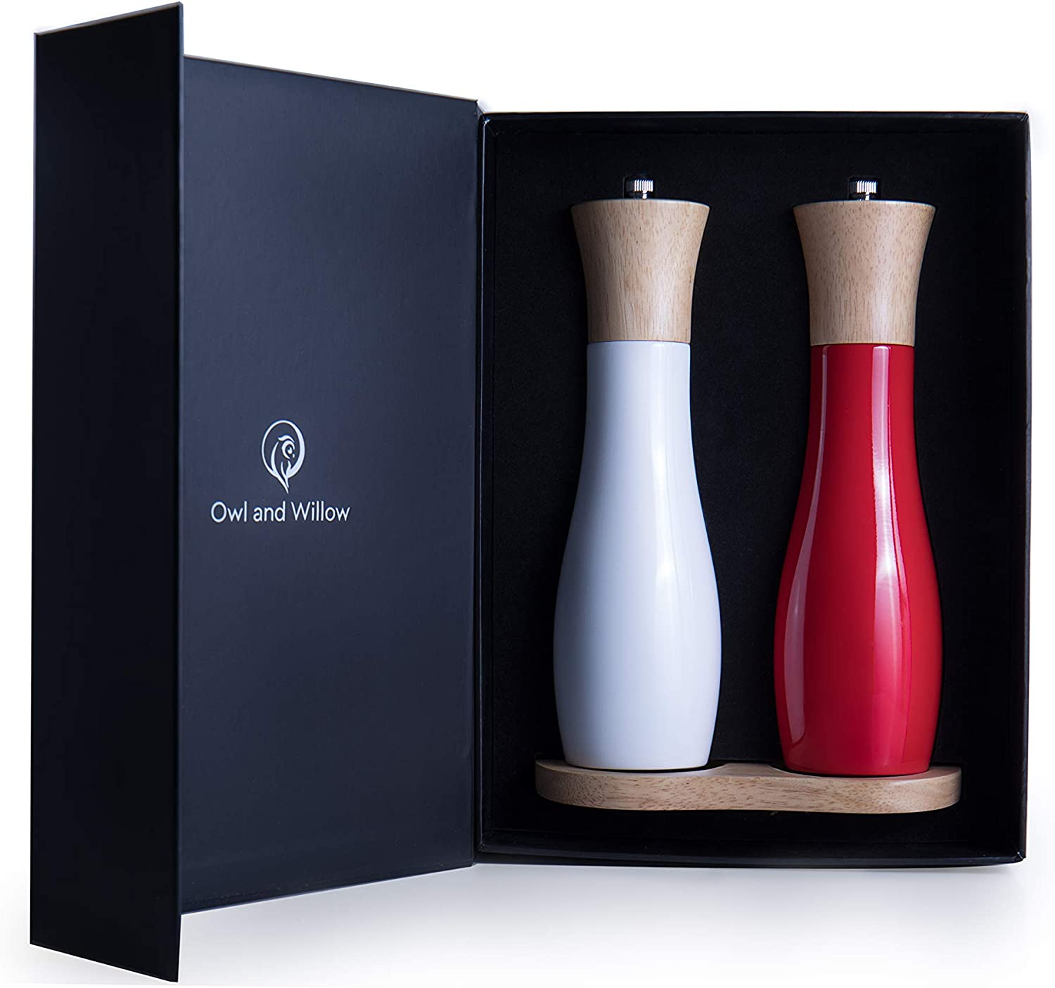 Red and White Precision Grinding Modern Kitchen Tools Owl and Willow Wooden Salt and Pepper Grinder Set Unique Red /& White Seasoning Mills With Stand Premium Gift Box For Coarse to Fine Salts
