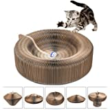 Cat Scratcher Cardboard, Collapsible Cat Scratcher Lounge Bed with Ball Toy Bell & Catnip, High Density Recycled Corrugated Kitty Scratching Pad Cats Turbo Toys