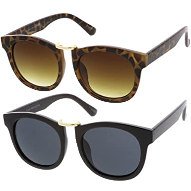 0590a5aeb sunglassLA - Horn Rimmed Metal Nose Bridge Round Lens Classic Sunglasses  52mm (2 Pack
