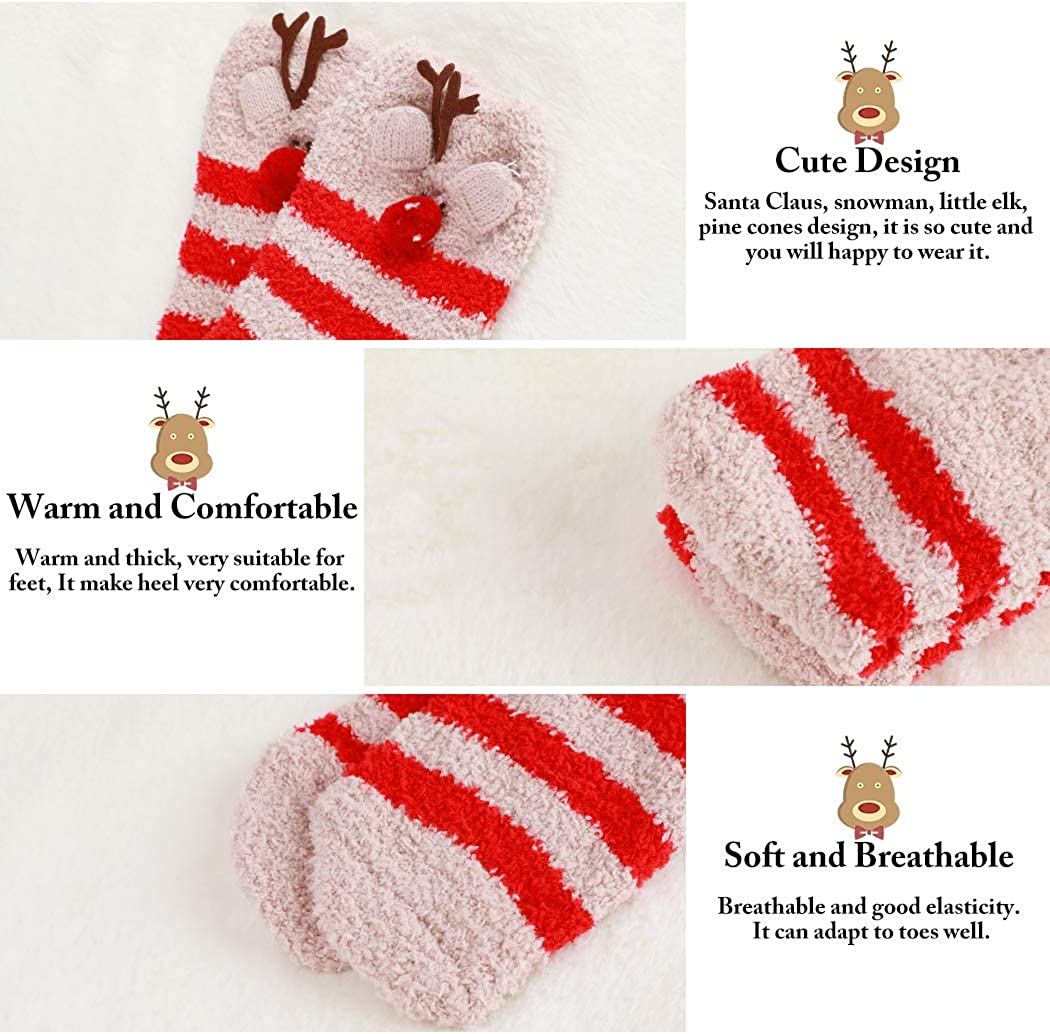 4 Pairs Fluffy Xmas Slipper Bed Crew Socks Cute Winter Holiday Santa Snowman Reindeer Socks for Girls /& Women as Gifts B bangcool Christmas Holiday Fuzzy Socks Bulk