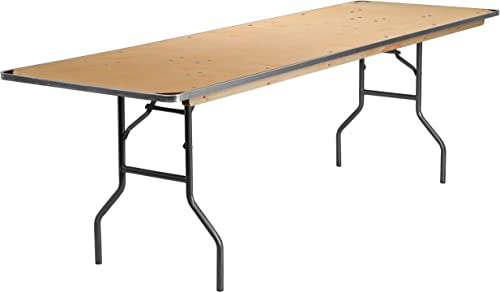 Flash Furniture 8-Foot Rectangular HEAVY DUTY Birchwood Folding Banquet Table with METAL Edges and Protective Corner Guards